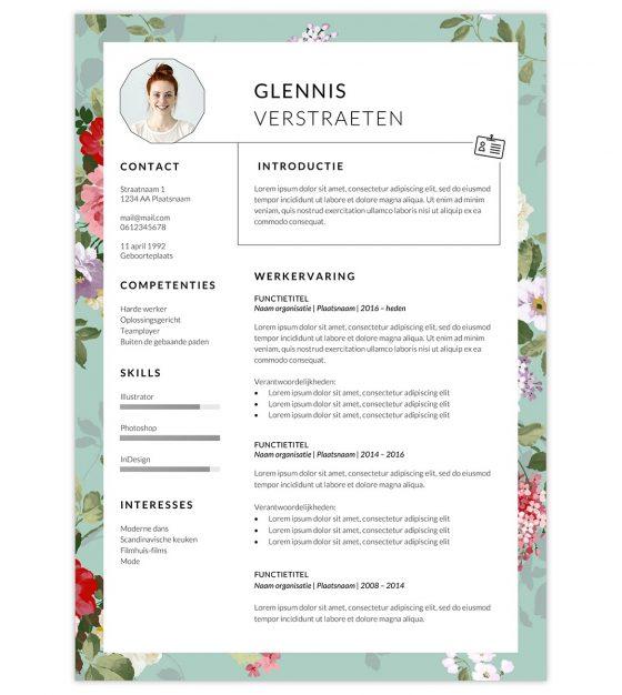 CV template 'Glennis' | Creatief CV.nl