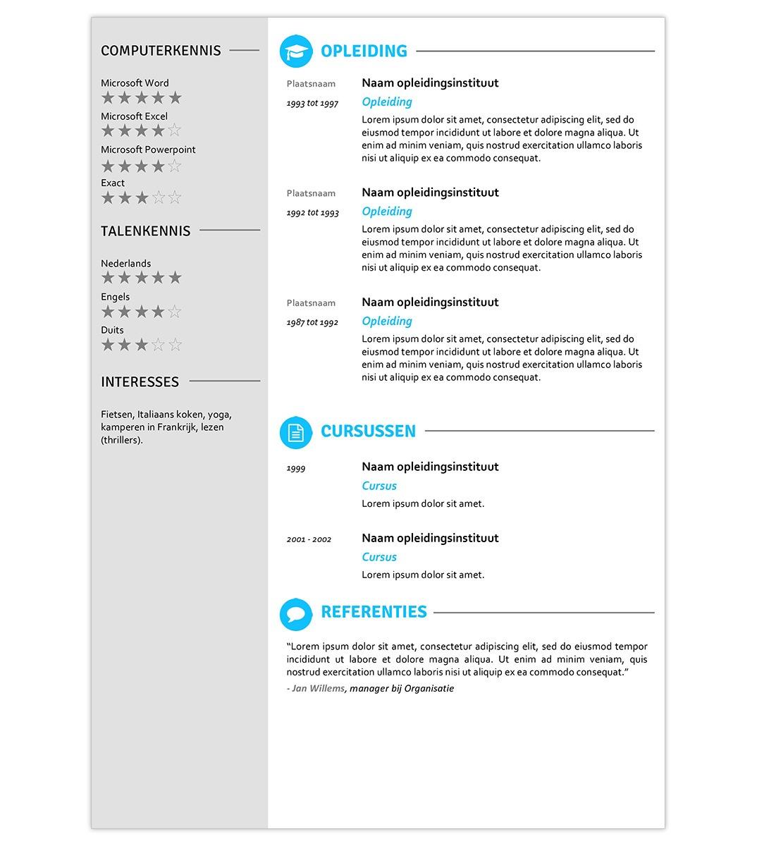 CV template 'Olivier' | Creatief CV.nl