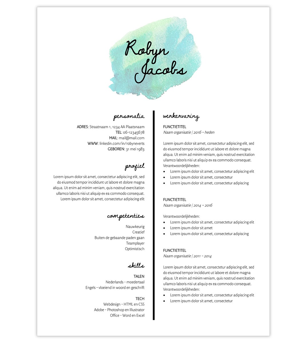Cv template robyn creatief cv cv robyn turquoise 1 yelopaper Choice Image
