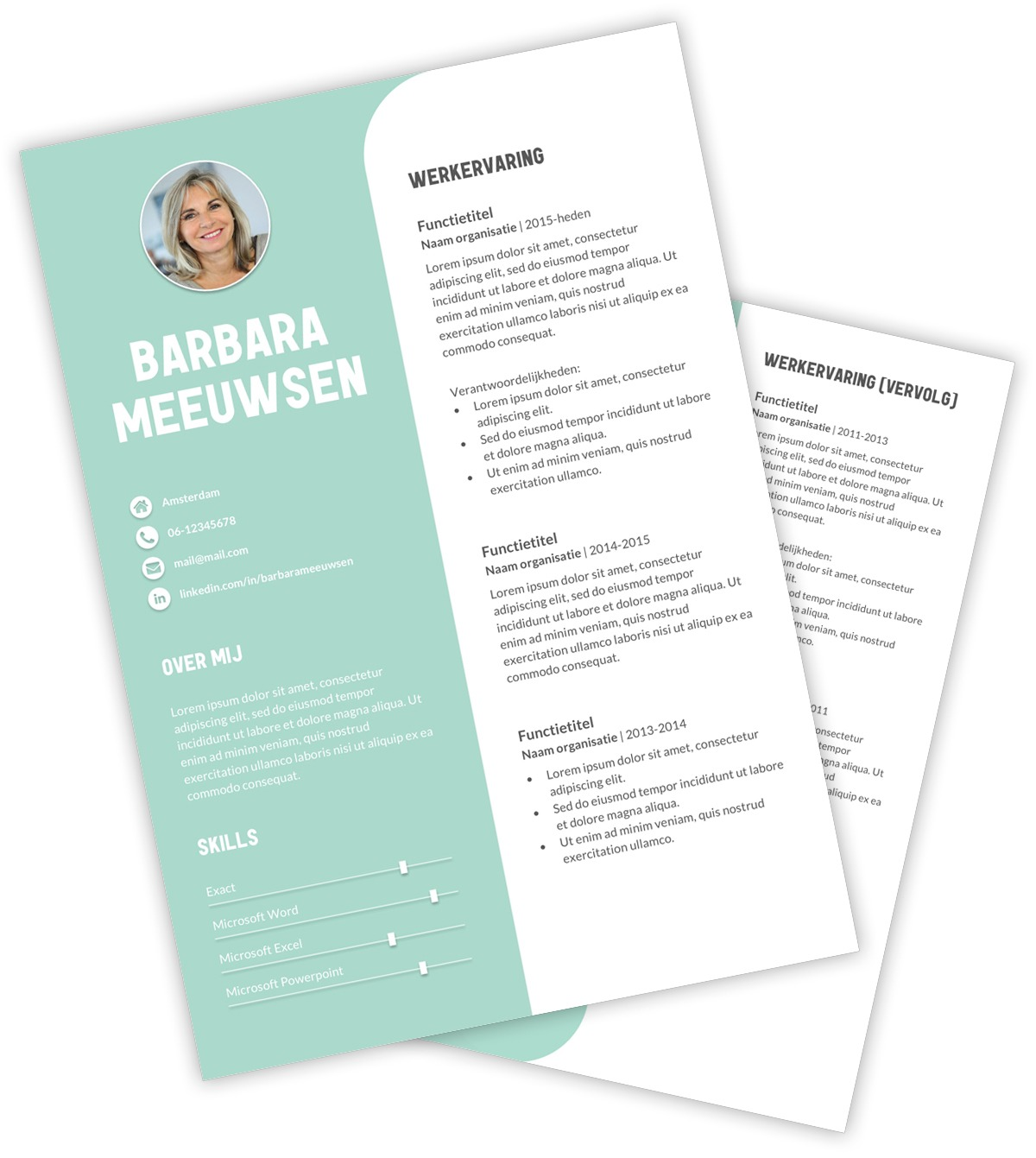 CV-template Barbara - turquoise
