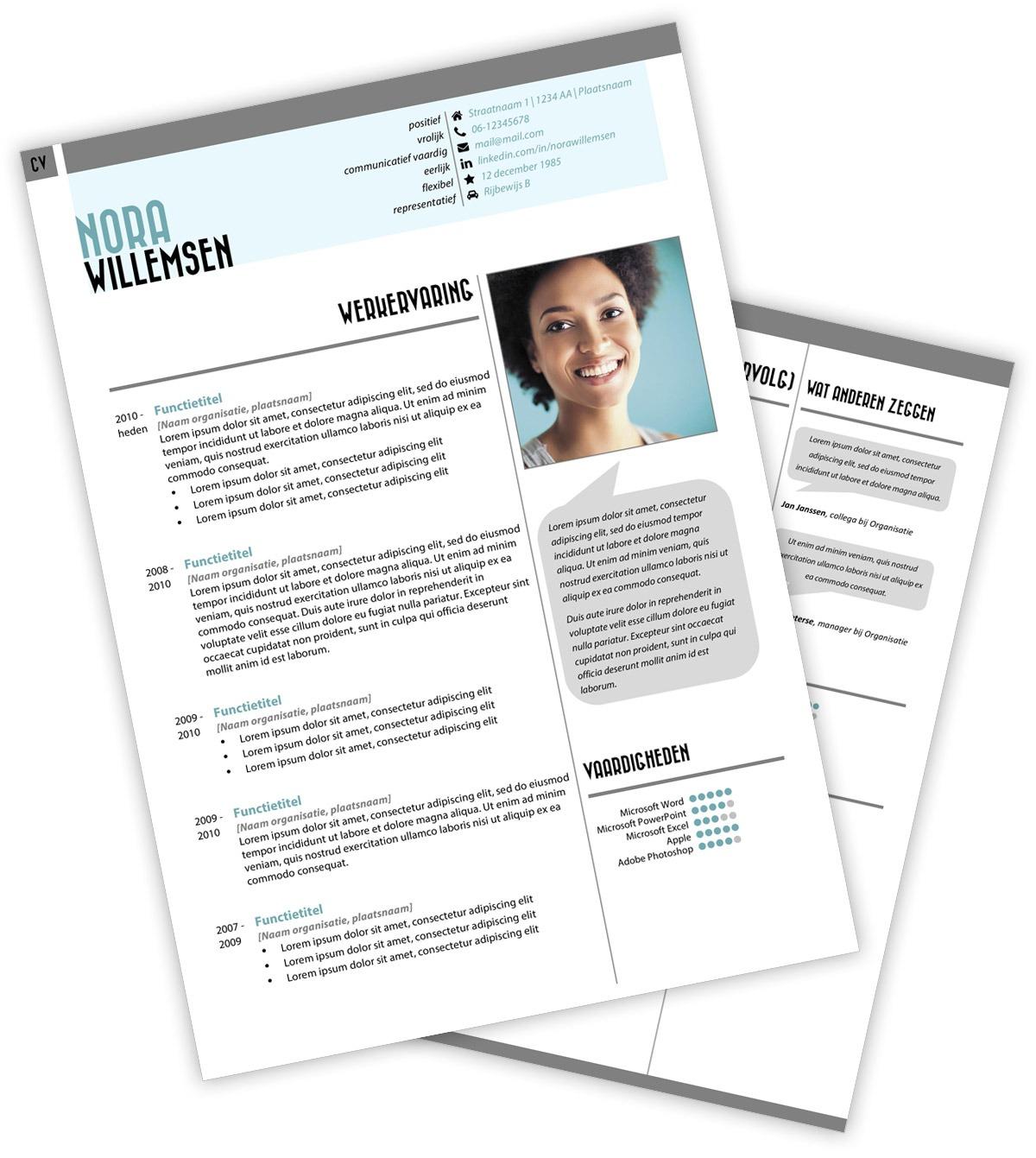 CV-template Nora - blauw