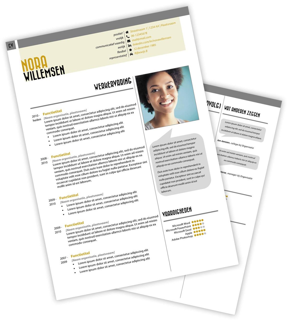 CV-template Nora - geel