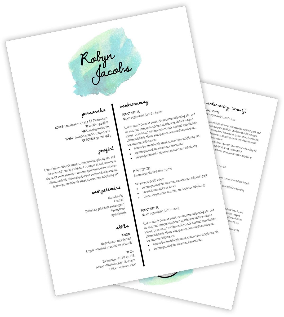 CV template 'Robyn' | Creatief CV