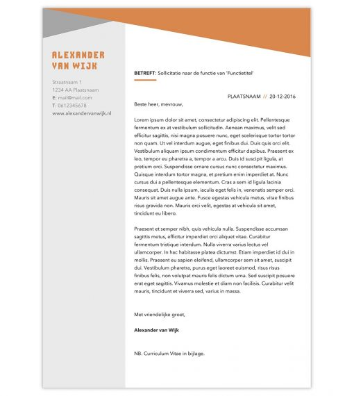 Sollicitatiebrief Alexander - oranje