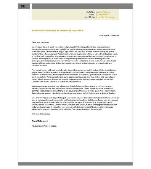 Optioneel: Sollicitatiebrief Nora - geel