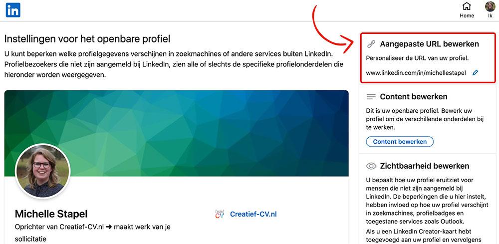 LinkedIn URL personaliseren desktop